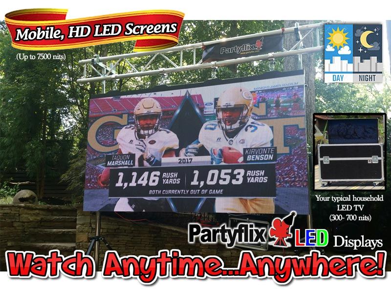 Our Partyflix 9.5ft HD,LED Screen Display Wall, Watch Anytime...Anywhere