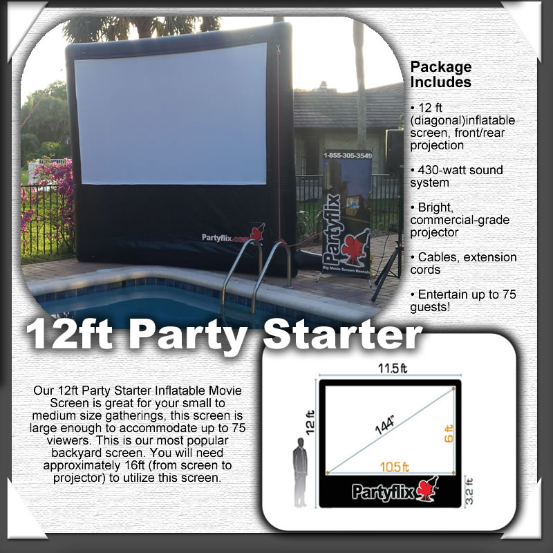 12ft Partyflix Party Starter Outdoor Inflatable Movie Screen