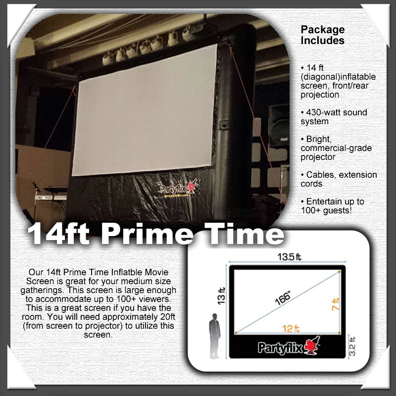 14ft Partyflix Prime Time Outdoor Inflatable Movie Screen