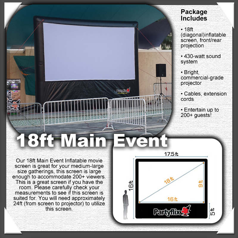 18ft Partyflix Main Event Outdoor Inflatable Movie Screen
