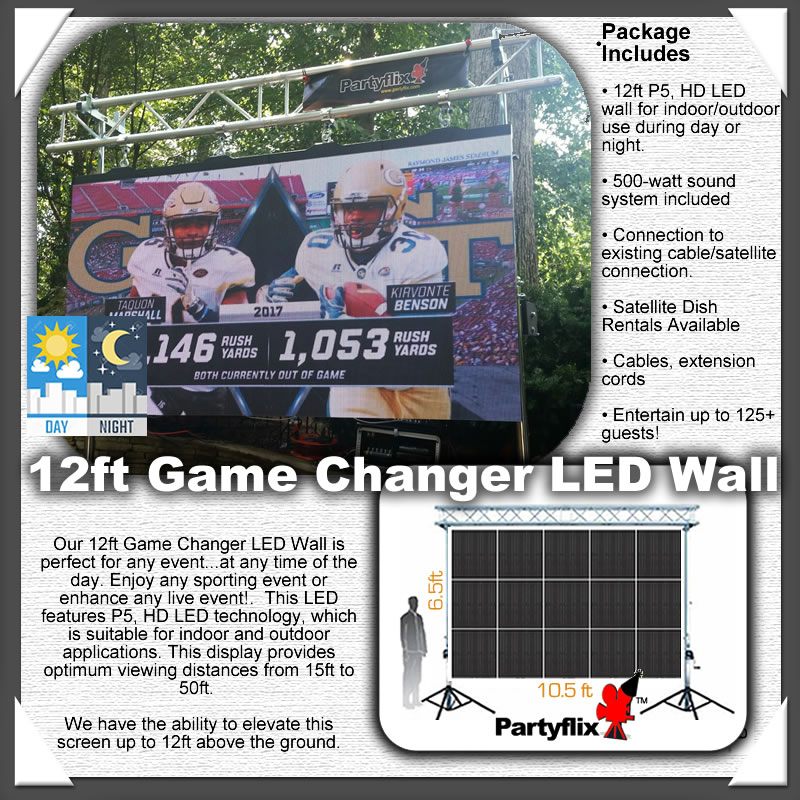 12ft Game Changer, Daytime HD, LED Screen Wall, Show any event, anytime of the day