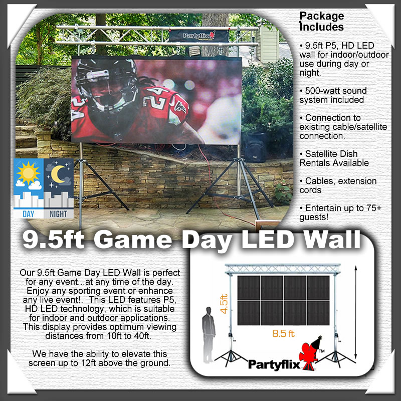 9.5ft Game Day, Daytime HD, LED Screen Wall, Show any event, anytime of the day