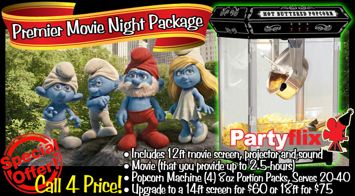 Movie and Video Game Package Includes Inflatable Screen Rental and Game Rental