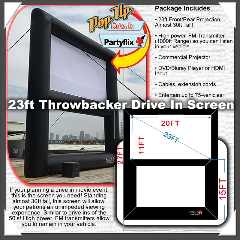 Partyflix 23ft Throwbacker Drive In Screen